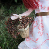 Natural woven straw basket for Blythe dolls