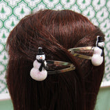 Snowman doll hair clips barrettes