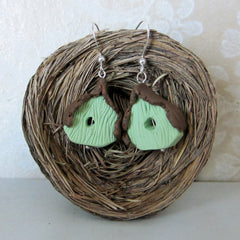 Bird House Earrings Made from Polymer Clay