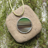 Mother earth stained glass soldered pendant necklace