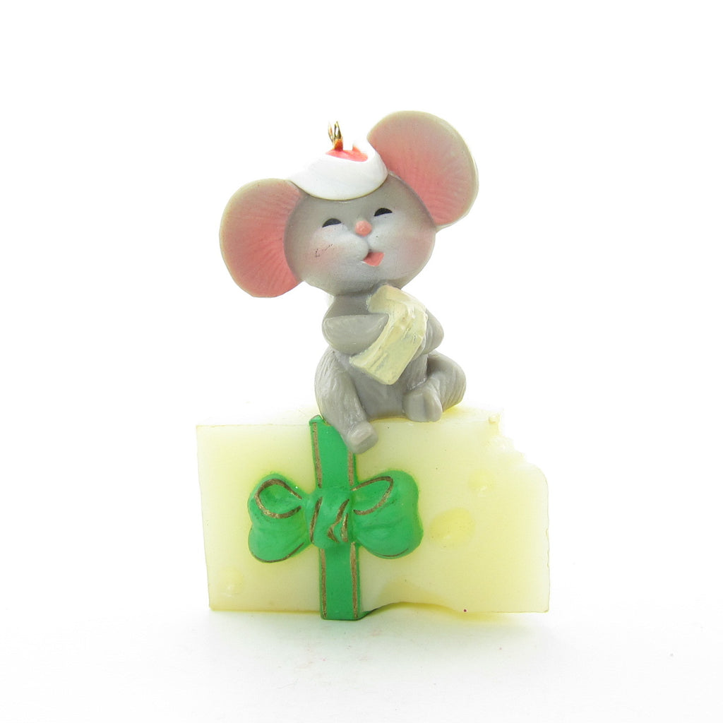 Mouse on Cheese Ornament Vintage 1983 Christmas Hallmark Keepsake
