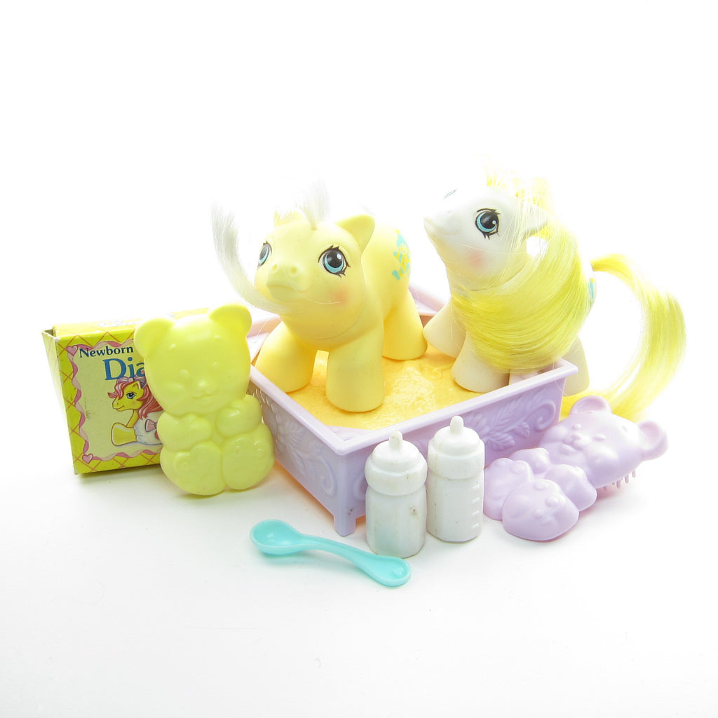 Big Top & Toppy Newborn Twins G1 My Little Pony Set with Accessories