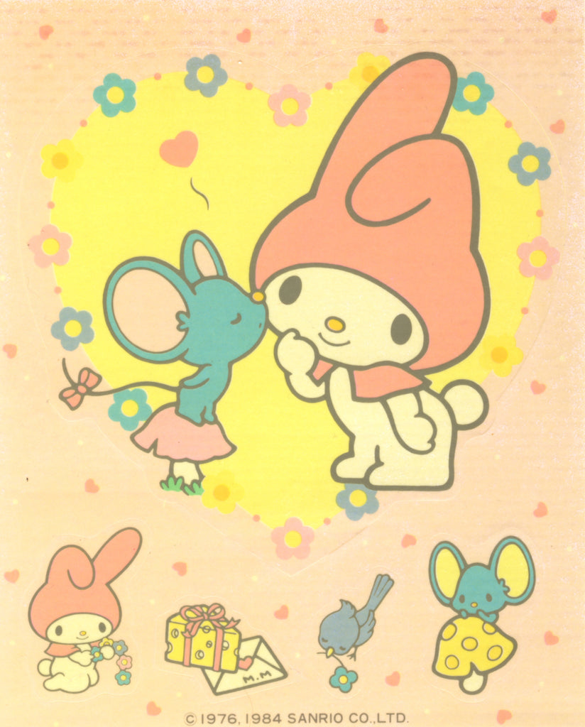 My Melody Sticker Sheet Vintage 1984 Sanrio Stickers with Flat the Mouse