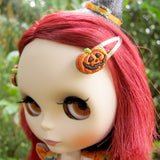 Orange glitter pumpkin Halloween barrettes