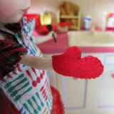 Red felt oven mitt for Blythe doll cooking in the kitchen