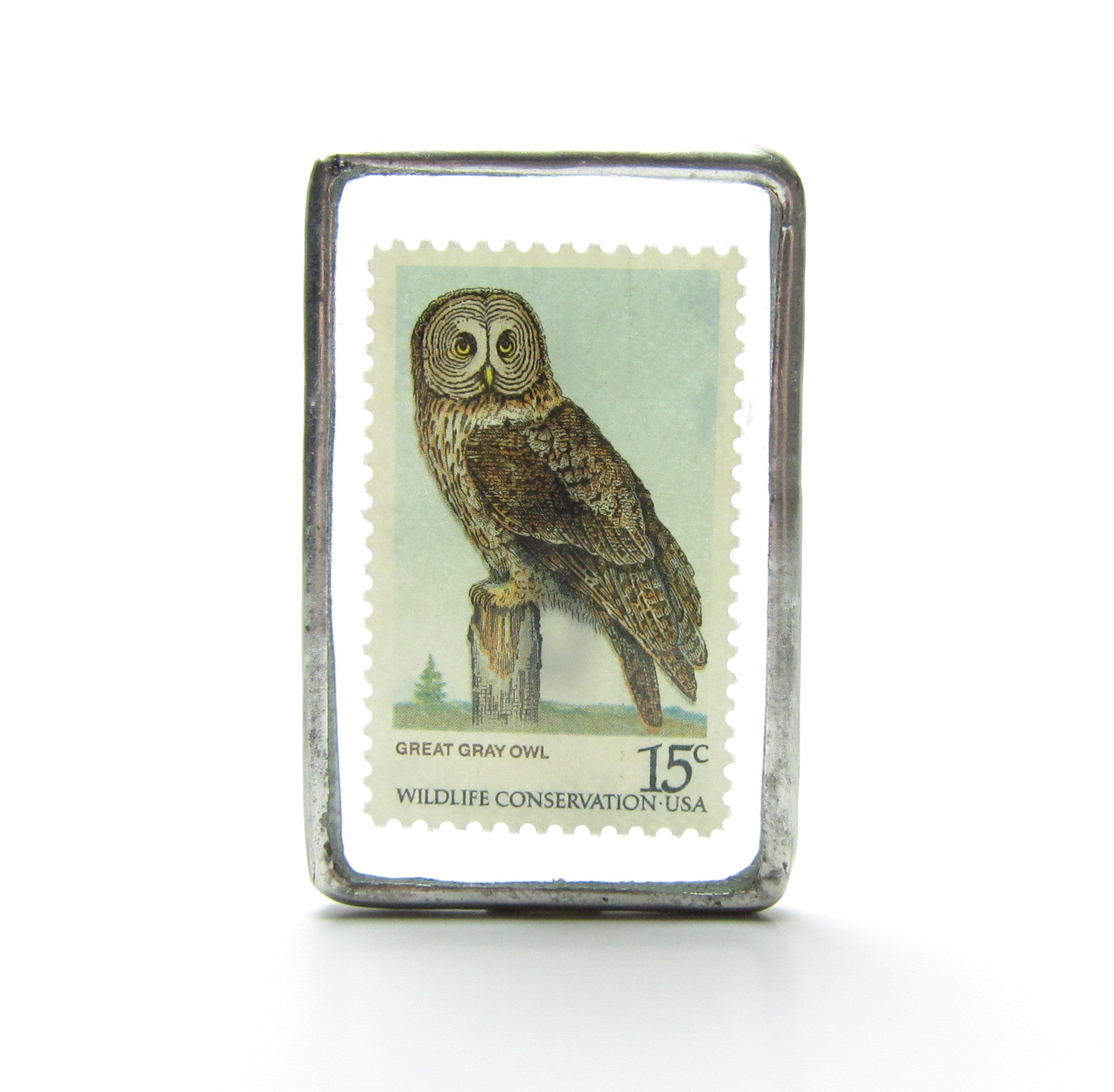 Owl Brooch Soldered Glass Postage Stamp Pin Great Gray