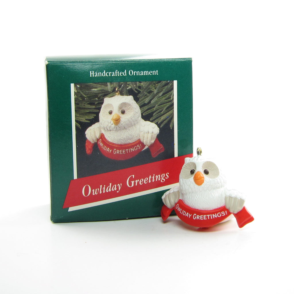 Owliday Greetings Ornament Vintage Hallmark 1989 Christmas Owl Tree Decoration
