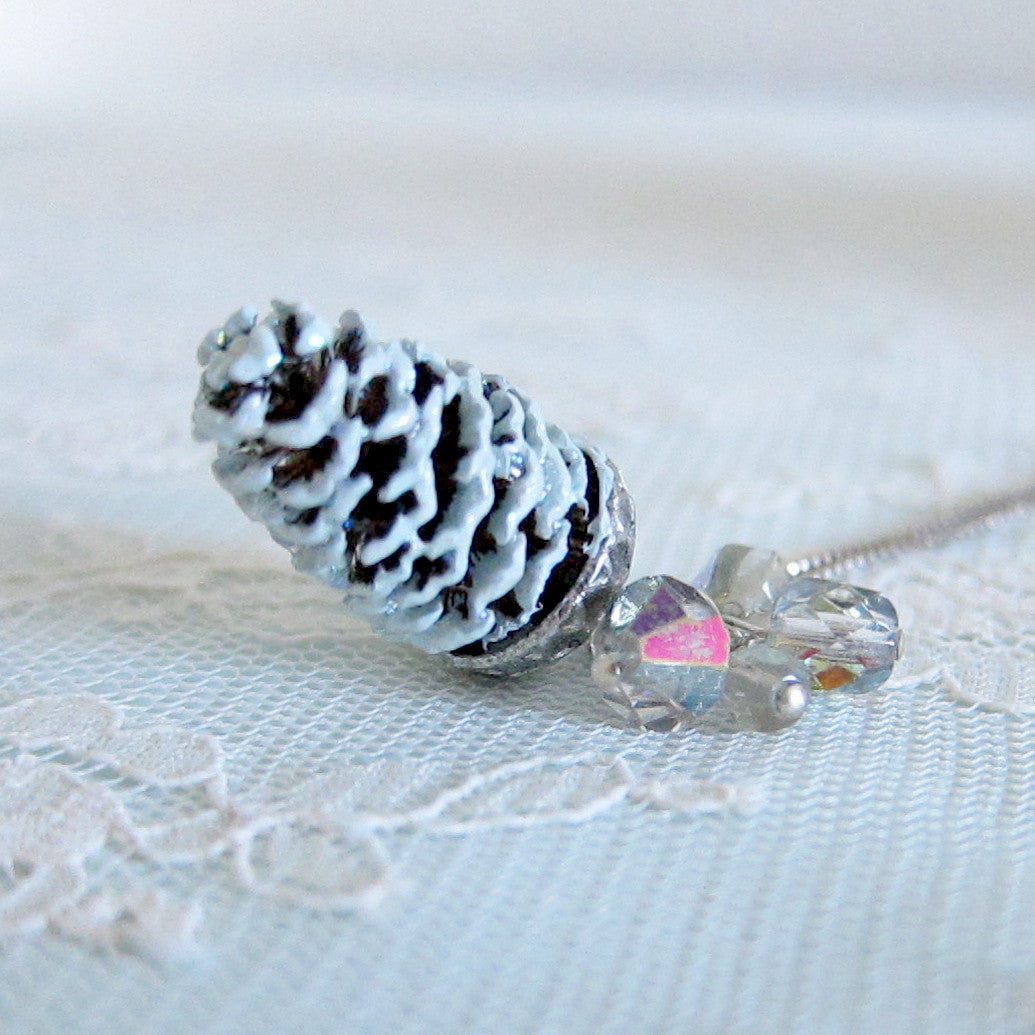 Pale Blue Winter Pine Cone Necklace with Swarovski crystals