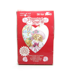 Peppermint Rose Valentines 1993 Vintage Box of 38 Valentine's Day Cards