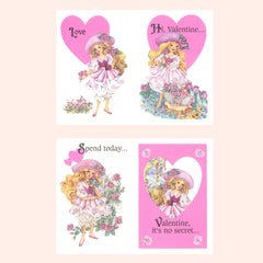 Peppermint Rose Valentines 1993 Vintage Pink Valentine's Day Cards