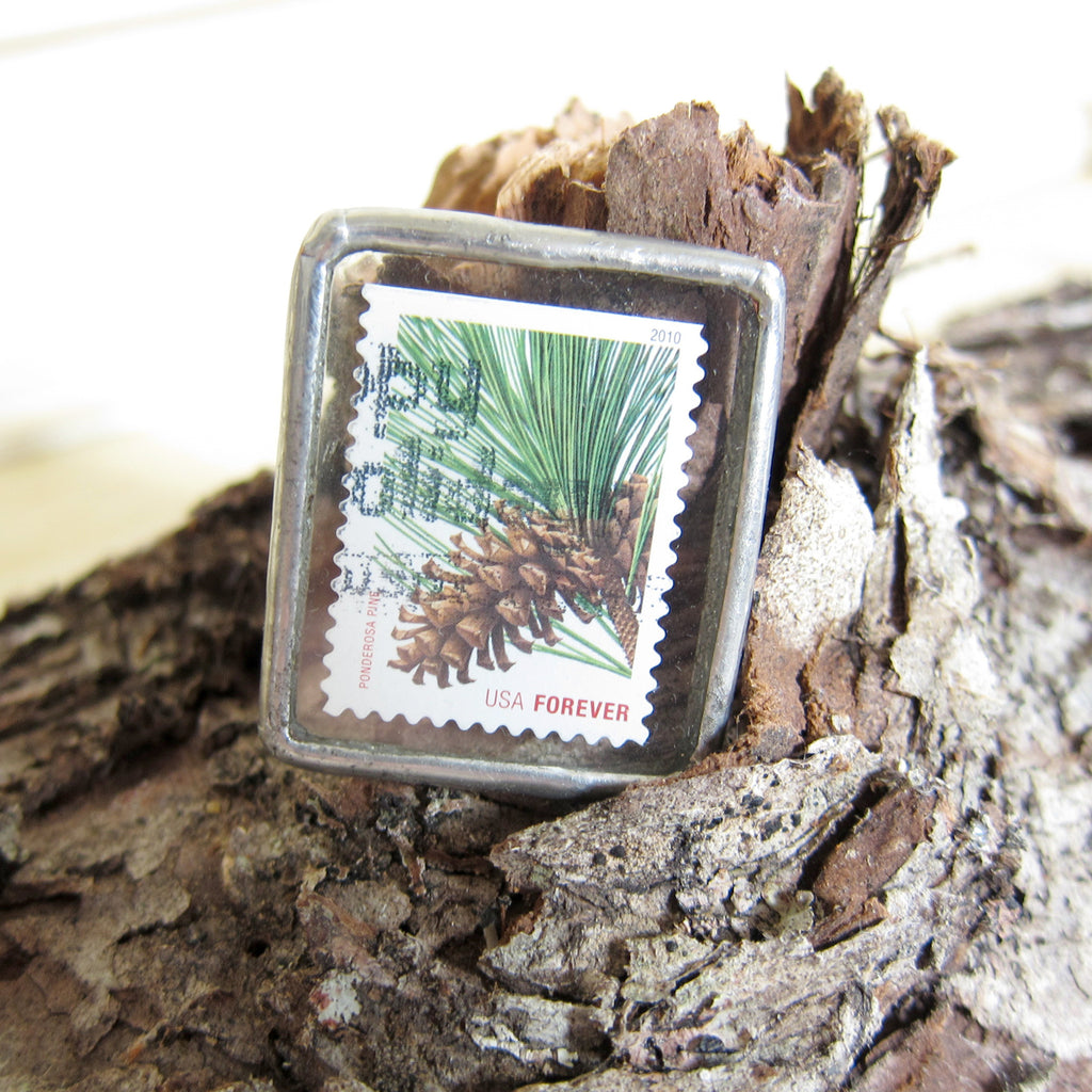Pine Cone Brooch Soldered Glass Postage Stamp Pin
