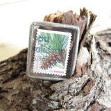 Pine Cone Postage Stamp Brooch with Real Stamp