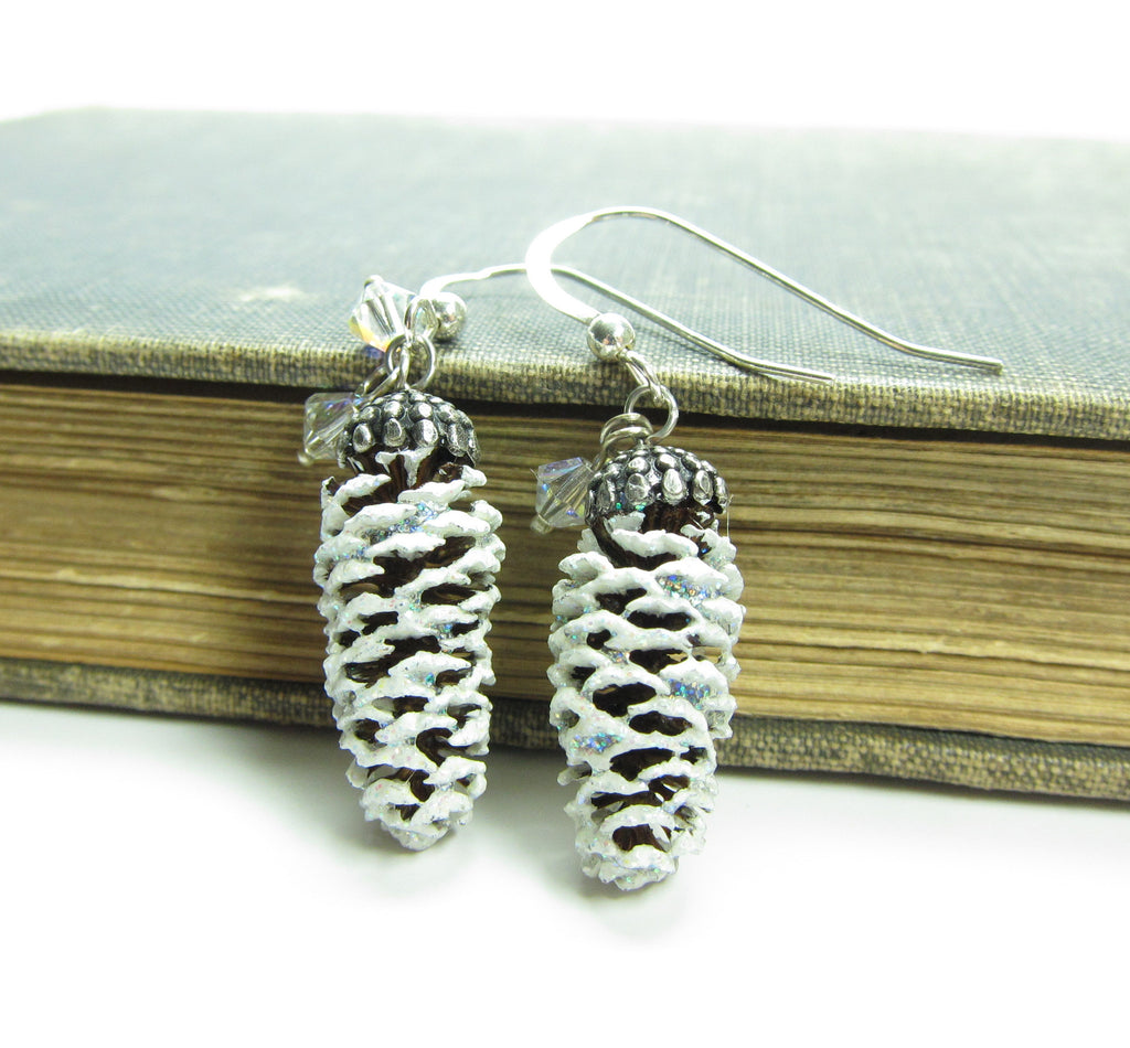 Snowy Pine Cone Earrings on Sterling Silver Wires