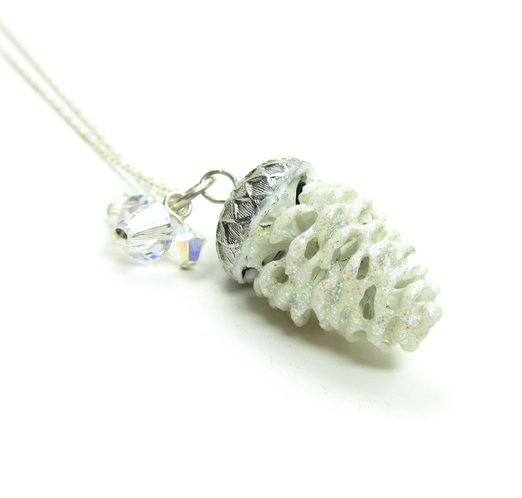 White pine cone necklace with Swarovski crystals