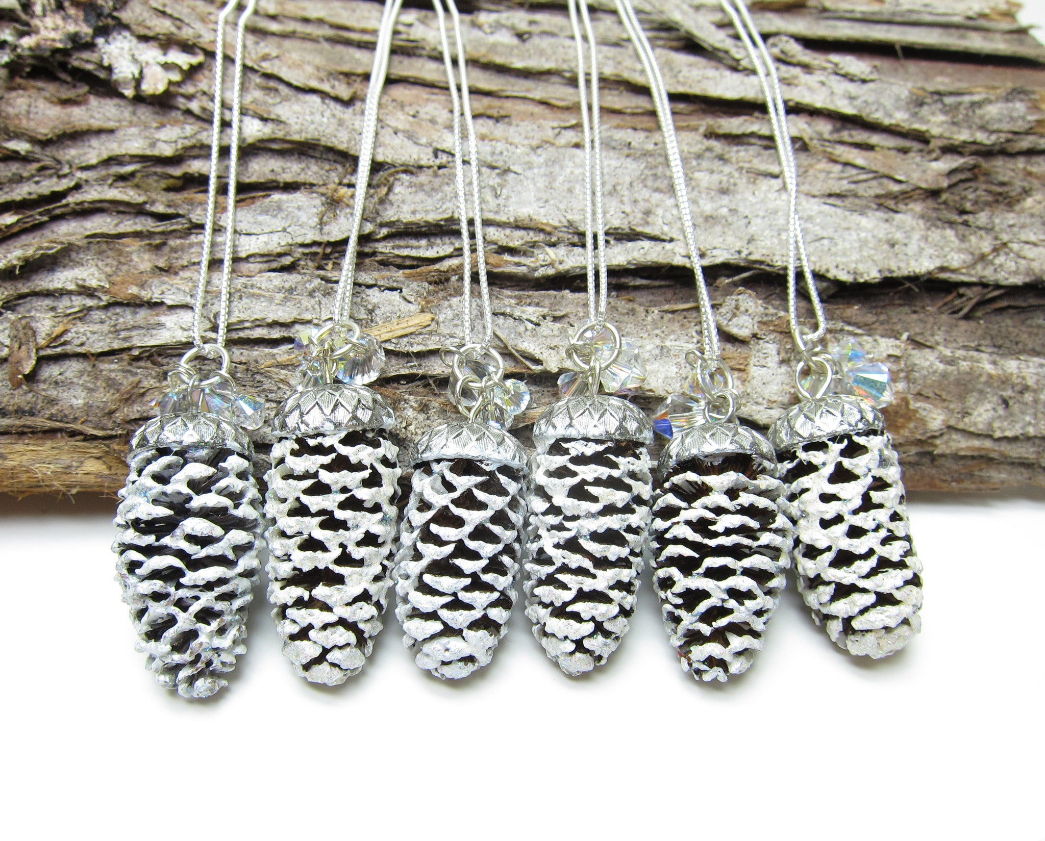 Pine Cone Bridesmaid Necklaces with White Snowy Pinecones