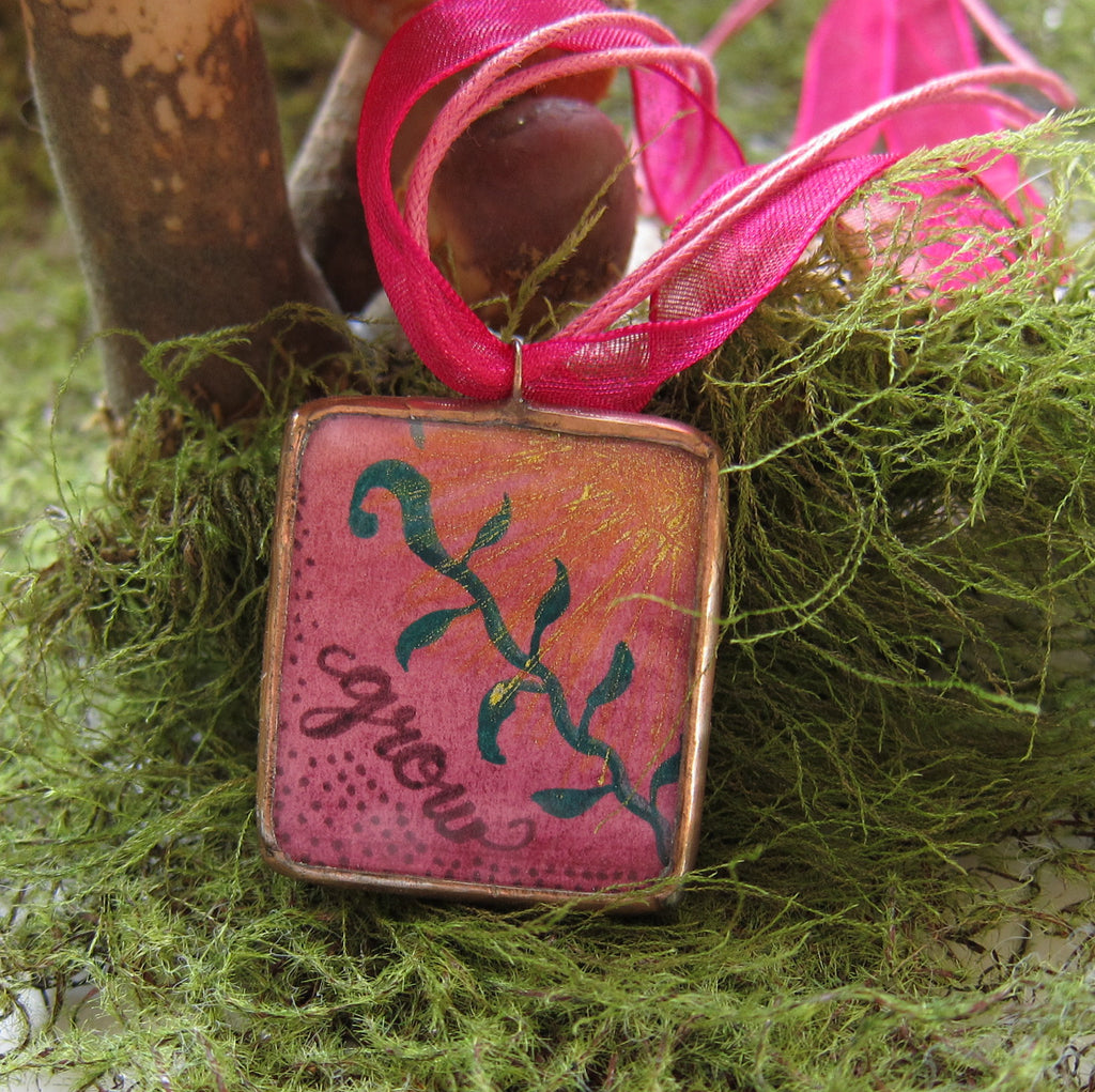 Pink Soldered Glass Copper Pendant Necklace with Watercolor Leaf Art