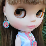 Blythe doll dangle earrings with rhinestones