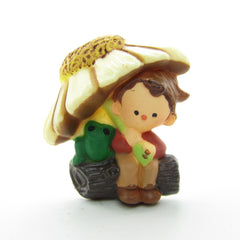 Pixie boy under daisy flower umbrella Hallmark lapel pin