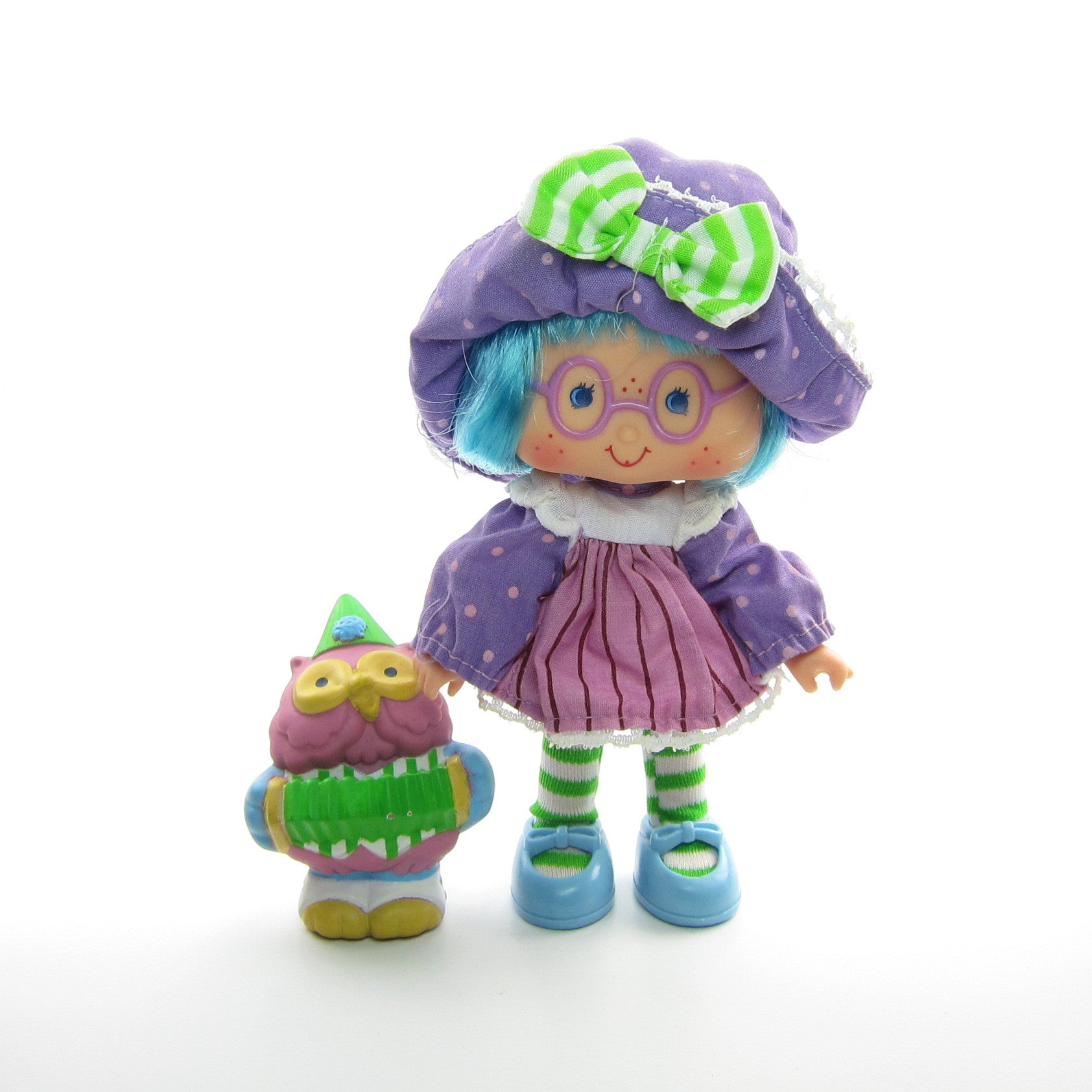 Plum Puddin Party Pleaser doll with Elderberry Owl pet
