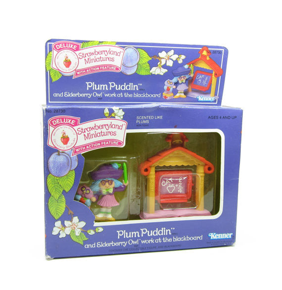 Plum Puddin and Elderberry Owl Work at the Blackboard MIB Miniature Set - RARE