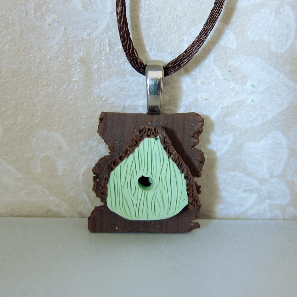 Bird House Necklace Polymer Clay Green Birdhouse Charm Pendant
