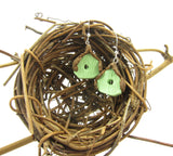 Green birdhouse earrings with brown roof