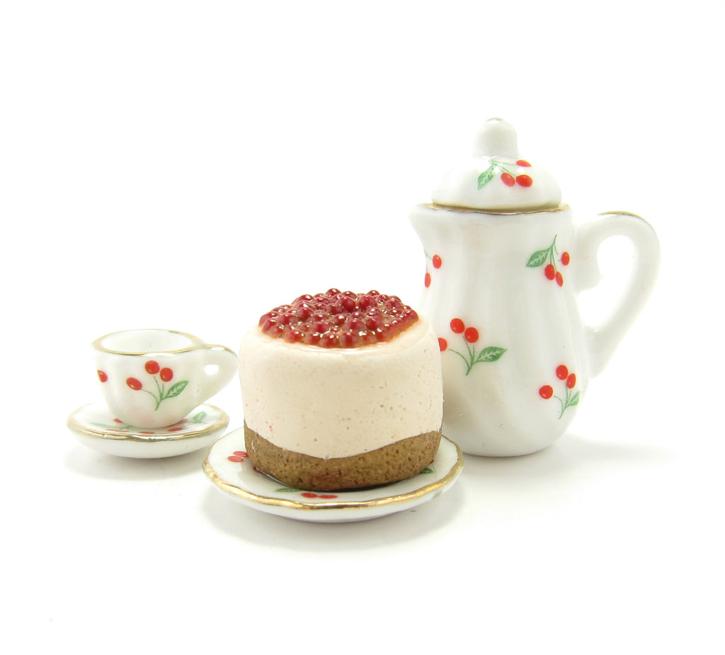 Miniature Cherry Cheesecake Polymer Clay Dollhouse Cake