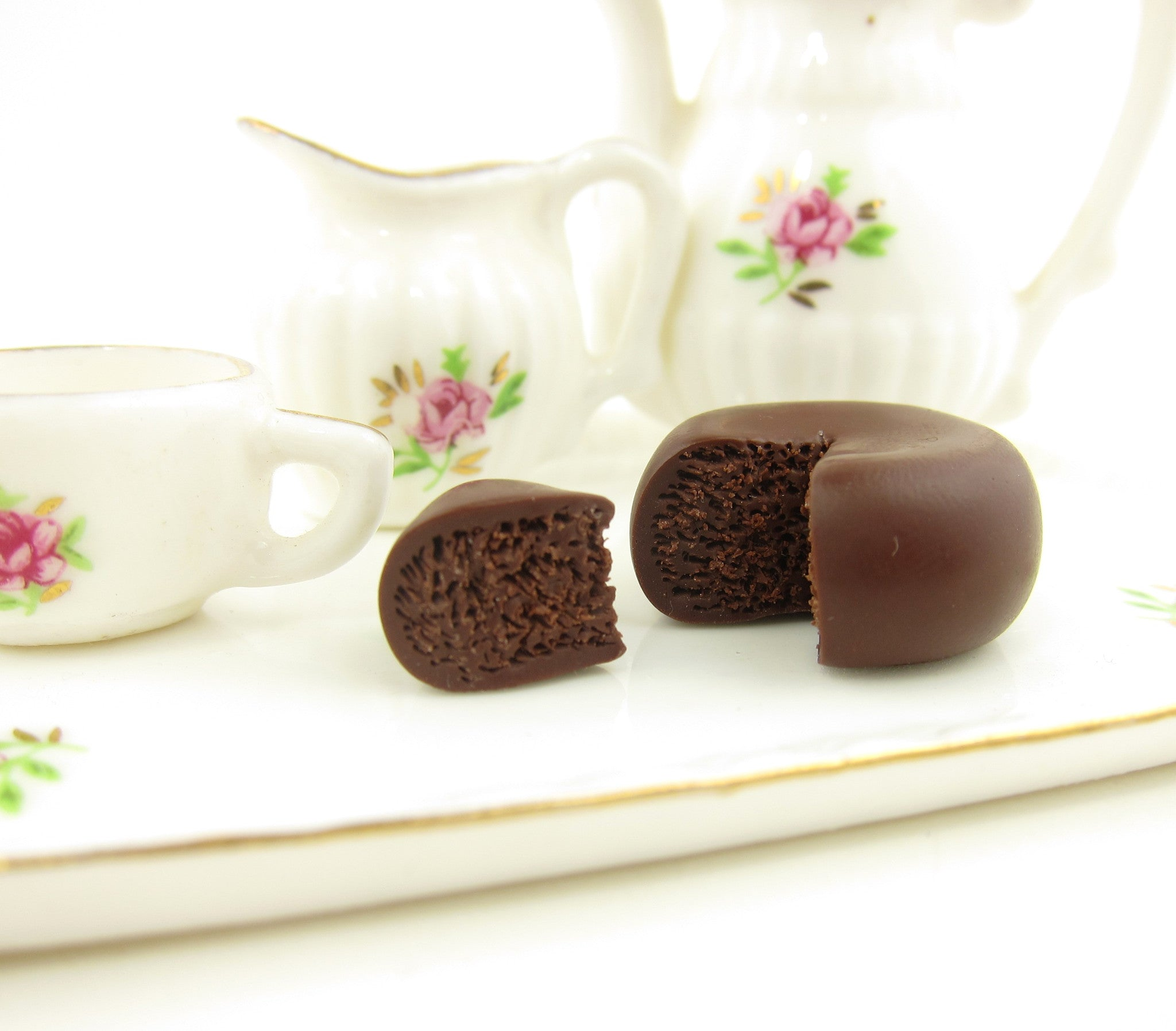 Polymer Clay Cake Chocolate Ganache Dollhouse Miniature 1 Inch Scale Brown Eyed Rose