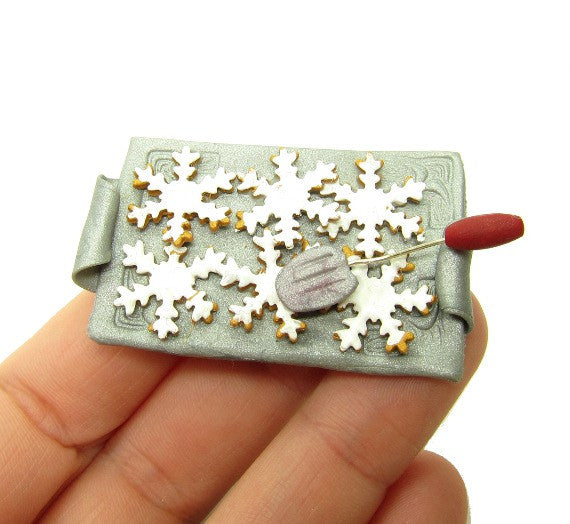 Miniature Dollhouse Snowflake Cookies