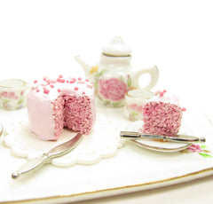 Polymer Clay Miniature Pink Dollhouse Cake