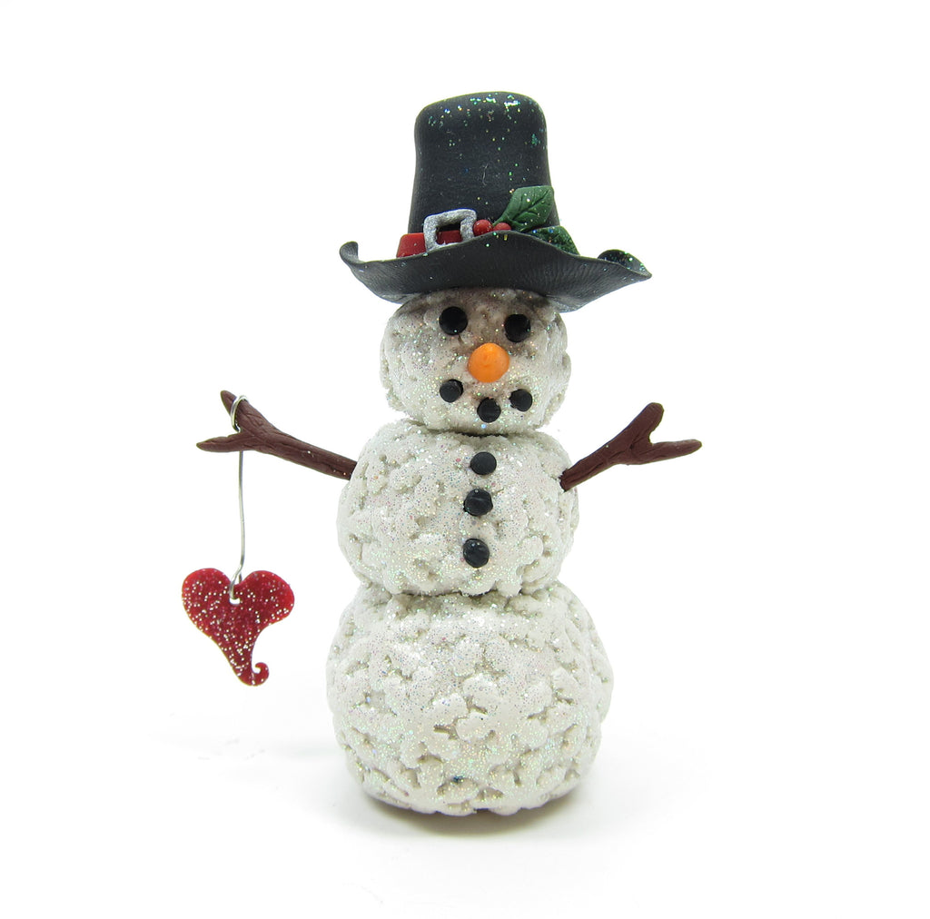 Snowman Miniature Figurine Polymer Clay Sculpture with Snowflakes