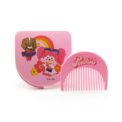 Poochie comb and mirror set vintage pocket compact