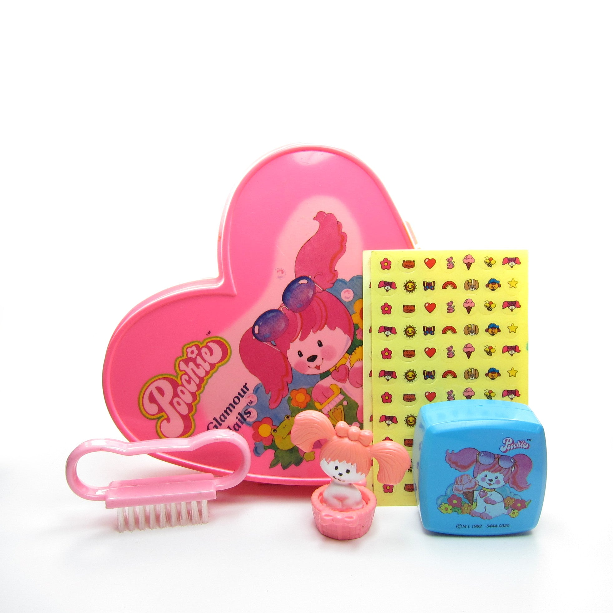 Poochie Glamour Nails manicure set with ink stamp, trinket box, nail decals