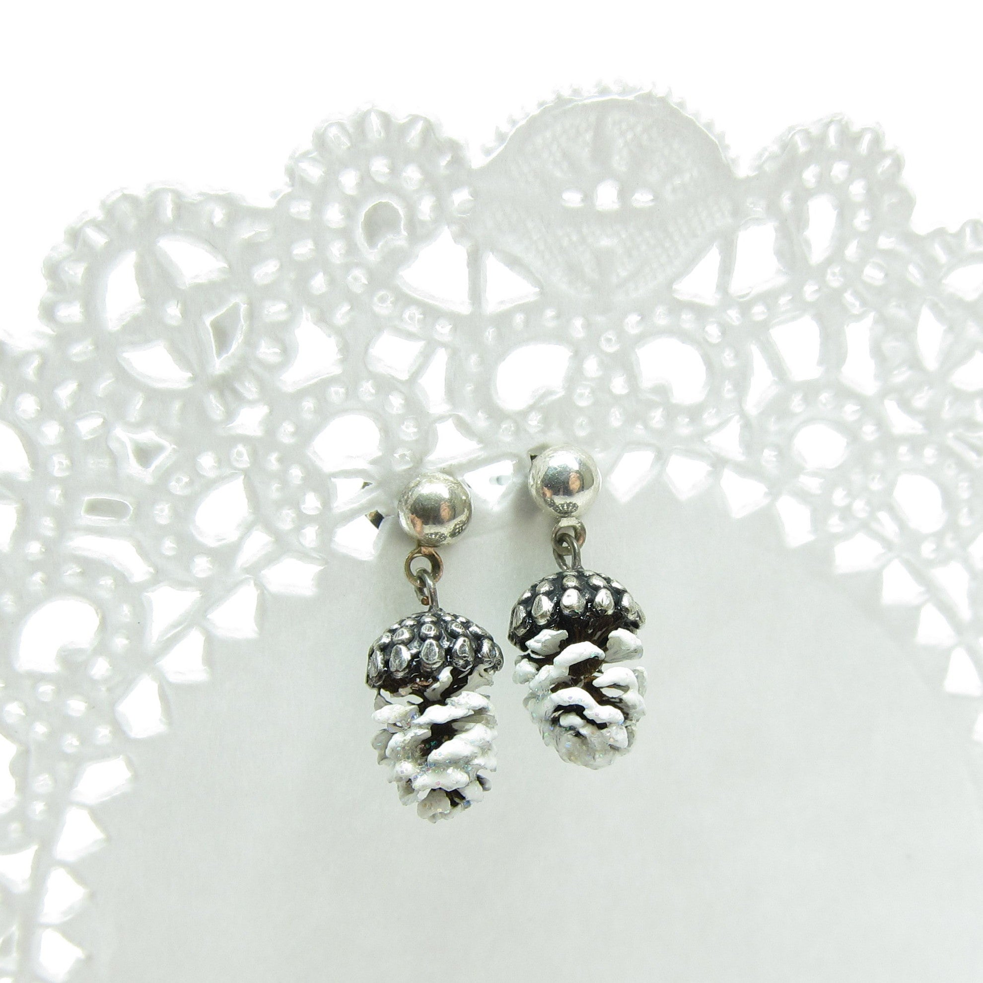 Miniature Pine Cone Earrings with Real Pinecones
