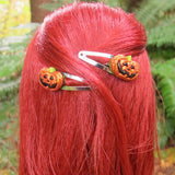 Halloween glitter jack-o-lantern barrettes for dolls