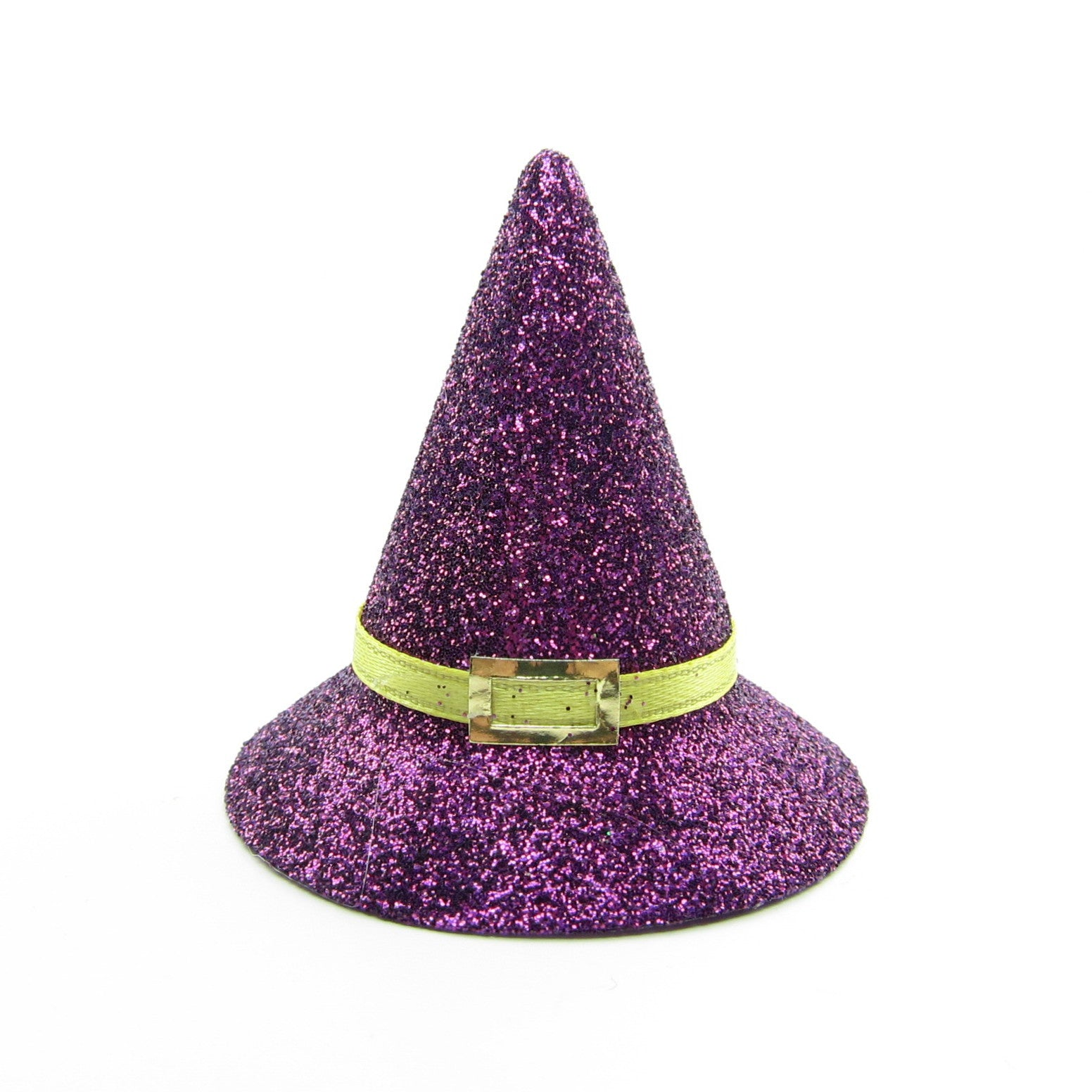 Halloween witch hat with purple glitter