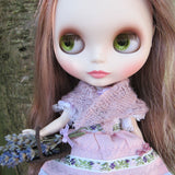 Purple shawl for Blythe folk dress outfit