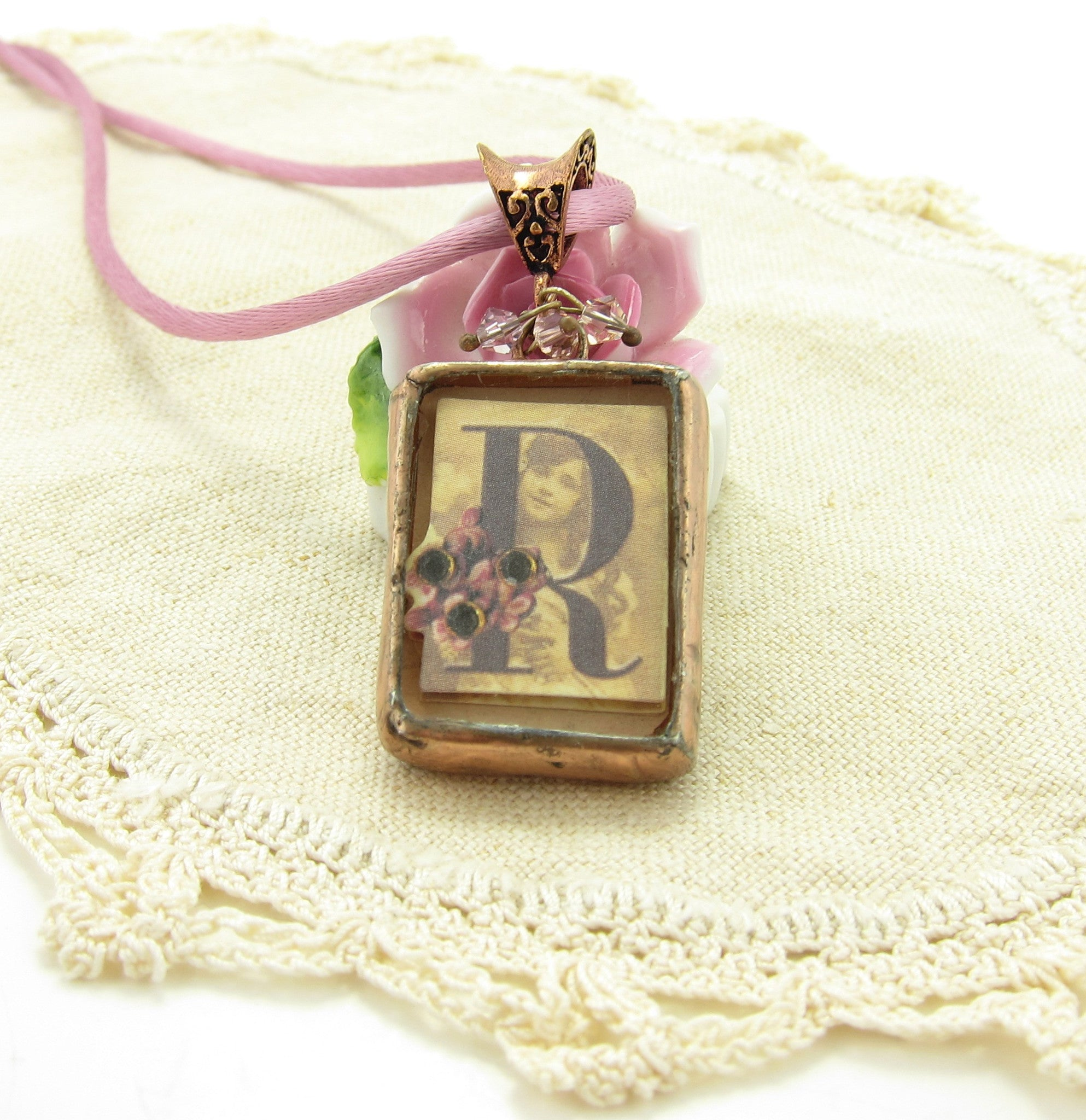 Victorian Letter R Initial Necklace