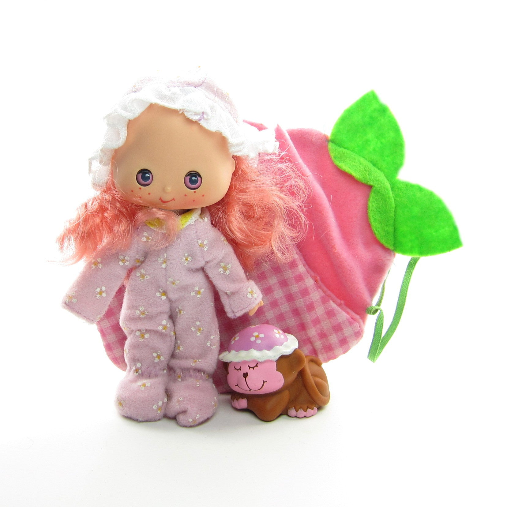 Raspberry Tart Sweet Sleeper doll with sleeping bag, Rhubarb pet