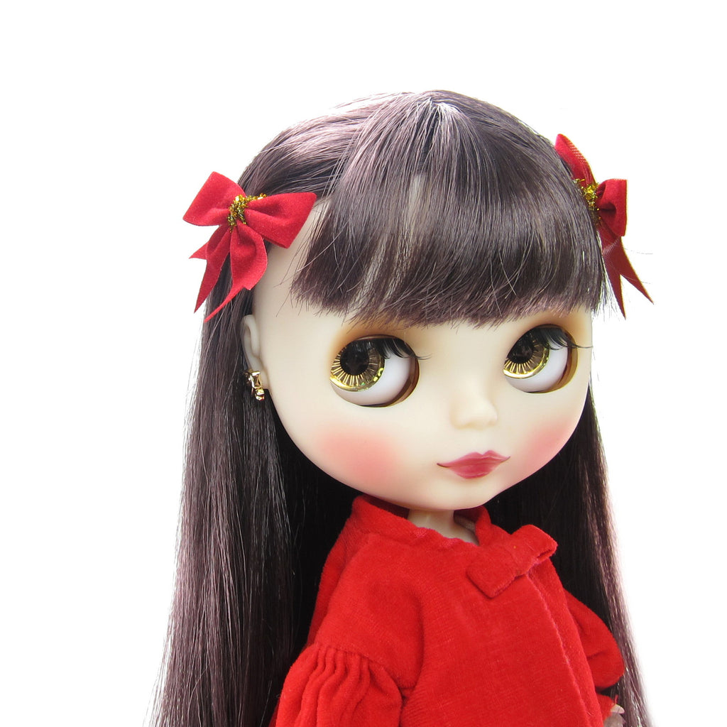 Red Bow Hair Clips Barrettes for Blythe & Pullip Dolls