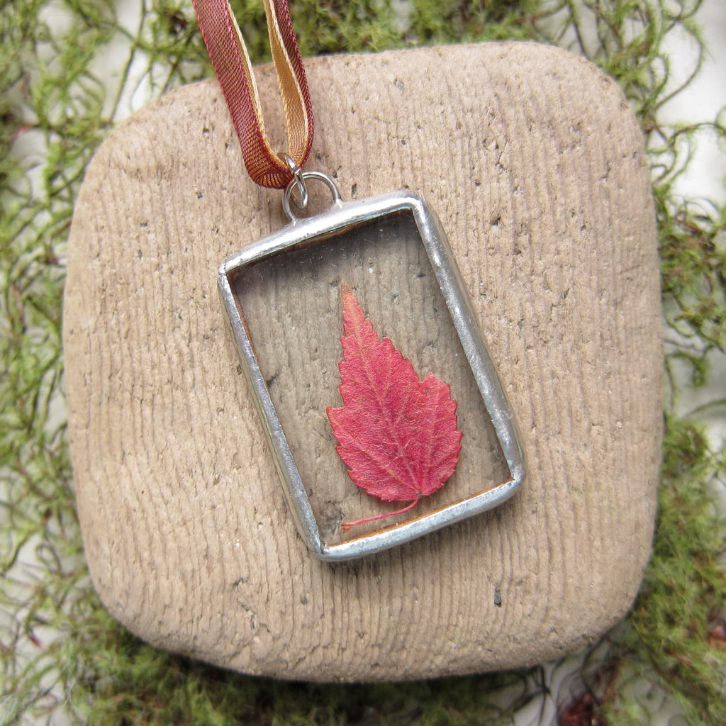 Maple Leaf Necklace Soldered Glass Pendant with Pressed Autumn Leaf