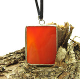 Red Stained Glass Necklace with Flame Pattern