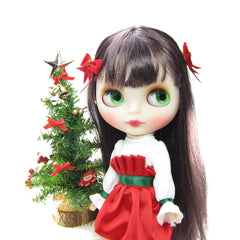 Christmas bow barrettes for Blythe & Pullip dolls