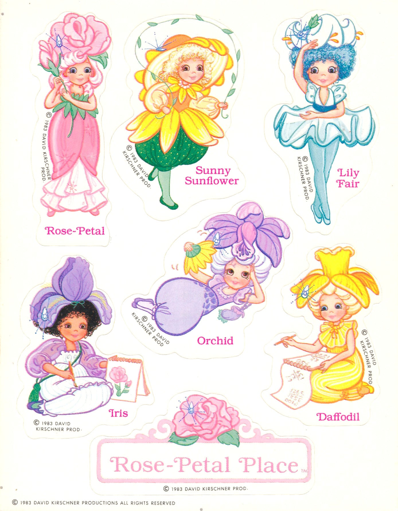 Rose Petal Place stickers vintage 1983 unused sticker sheet