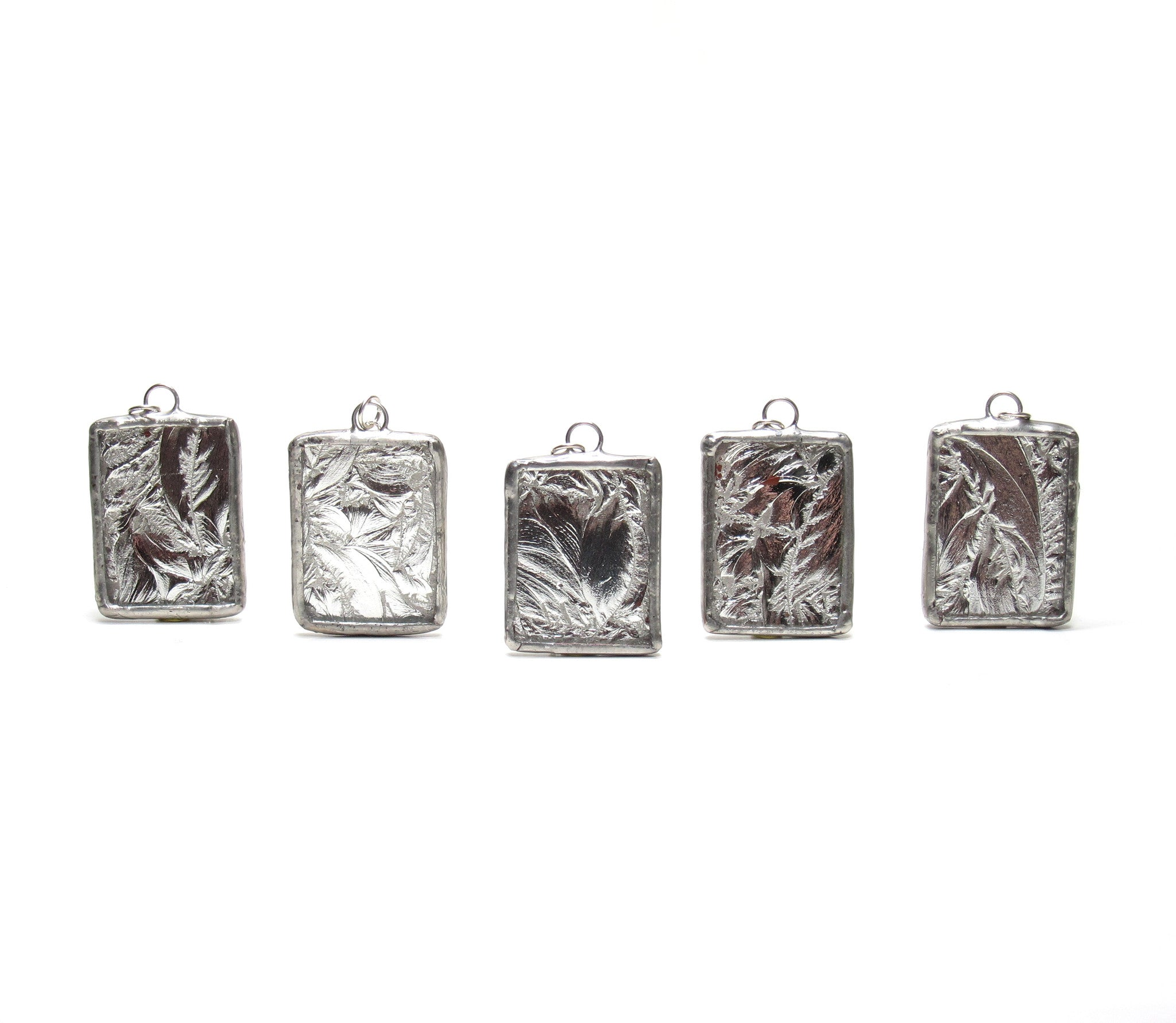 Set of 5 Silver Frost Stained Glass Bridesmaid Necklaces