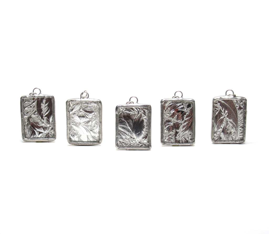 Silver Frost Bridesmaid Necklaces Set of 5 Stained Glass Soldered Pendants