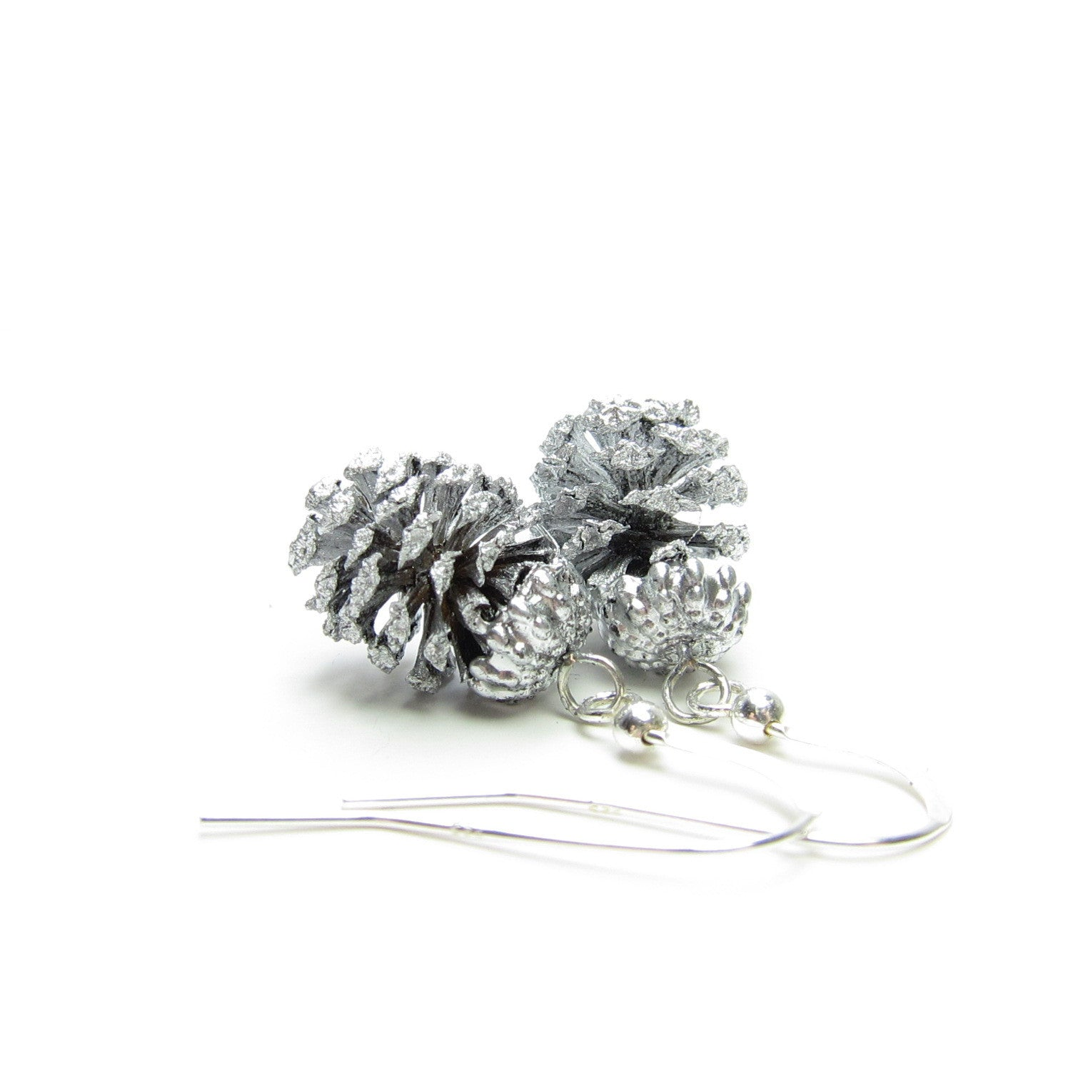 Silver pine cone earrings made from real pine cones