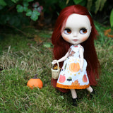 Blythe doll dress with squirrels, pumpkins, and fall leaves