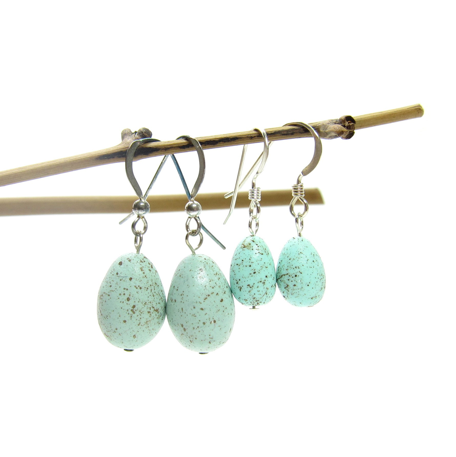 Large and small robin's egg earrings