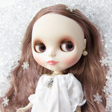 Blythe or Pullip snowflake charm necklace